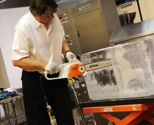 Nick carving an ice block